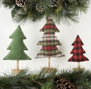 3 PIECE SET Christmas Green and  Plaid Multicolor Tree Tabletop Mantel Decor new