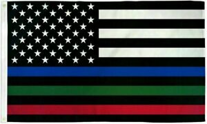 Thin BLUE Line police Flag 3x5 Ft Fire Fighter Firefighter Police American Law