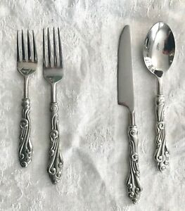 POTTERY BARN  'WAVE'  Pewter & Stainless Steel FLATWARE,  VERY GOOD, 4 PIECE SET