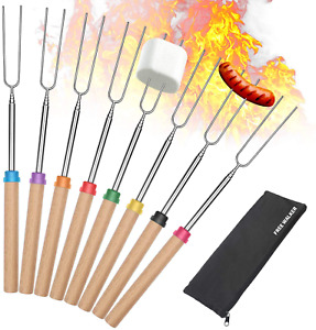 Marshmallow Roasting Smores Sticks,32-inch Extendable Sturdy Stainless Steel Roa