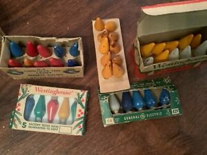 3 Boxes10 Vintage 2 Boxes of 5 Christmas Tree Colored Light Bulbs Lamps 110 125V