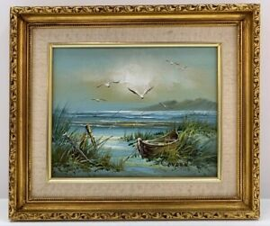 Boat Beach Seagull Seascape Signed Framed Oil Painting On Canvas by Conden $89.99
