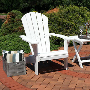 Sunnydaze All Weather Outdoor Patio Adirondack Chair w Faux Wood Design White