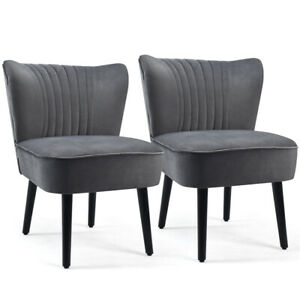 Set of 2 Armless Accent Chair Upholstered Leisure Chair Single Sofa Dark Grey