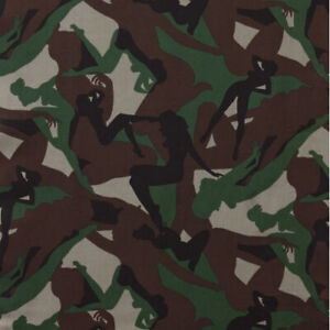 By Yard Camouflage Girls Print Pin Up Women Fabric Alexander Henry 6205A Army