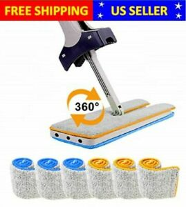 Self Wringing Double Sided Flat Microfiber Mop amp; Broom With 6 Pads