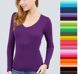 Womens T Shirt V Neck Long Sleeve Active Basic Stretch Light Weight Top T9665