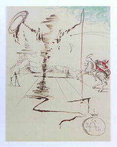 Salvador DALI Don Quixote Chevalier Spinning Man Litho Art Print $89.95