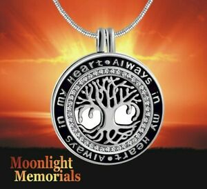 New Always in my heart Tree Locket Urn Ashes Cremation Memorial Necklace $18.95