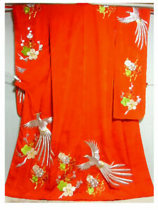 Kimono Vintage Japanese Womans furisode Red hanging under large fly front $251.89