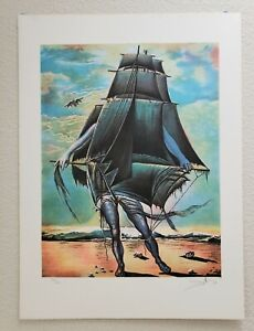 Salvador Dali quot;The Shipquot; Man Boat Signed Lithograph 296 300 *COA* $424.15