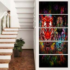 Designart #x27;Tiger and Panther with Splashes#x27; Animal Artwork Oversized