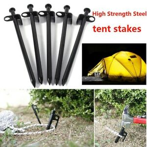 5pcs Pack 20cm Tent Pegs Stakes Nail Canopy Tarp Outdoor Camping Heavy Duty US