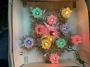 NOMA VINTage 11 Light Tinsel Star Tree Ornament Chirstmas Decoration 5quot; Works