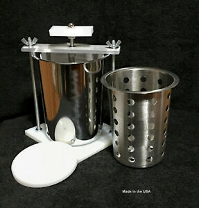 STAINLESS STEEL 4quot; CHEESE PRESS W SS SOFT CHEESE MOLD SPRING ASSISTED ORGANIC