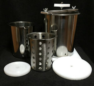 Cheese Press Stainless Steel 6quot; amp; 4quot; Spring Assisted amp; Free Soft Cheese Mold $99.95