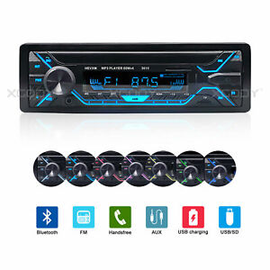 Car Radio Bluetooth Stereo MP3 Player Audio In Dash 7 Color Dual USB TF AUX 1DIN $25.88