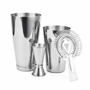 4 Piece Cocktail Shaker Stainless Mixer w Double Jigger and Hawthorne Strainer