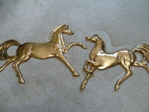 Vintage Pair Brass Horse Sculptures Wall Decor mid 1960#x27;s Great shape $54.97