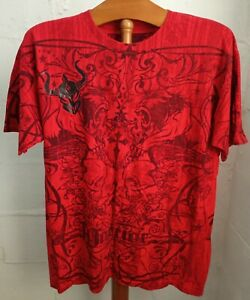WARRIOR INTERNATIONAL T Shirt Graphic Tee Red Large Cotton Mens Used