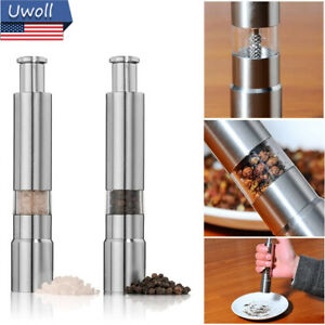 Stainless Steel Thumb Push Salt Pepper Grinder Spice Sauce Grinder Mill Muller