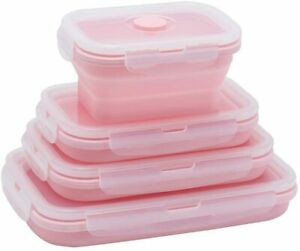 Food Storage Containers 4X Silicone Collapsible Fresh Hold Microwave with Lids