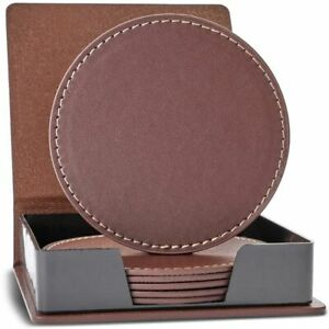 6pcs Brown PU Leather 3.6quot; Round Drink Coasters Coffee Cup Mat Pad with Holder $8.99
