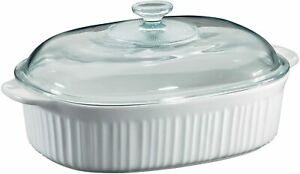 Corningware French White Oval Casserole with Glass Cover 4 Quart. NIB