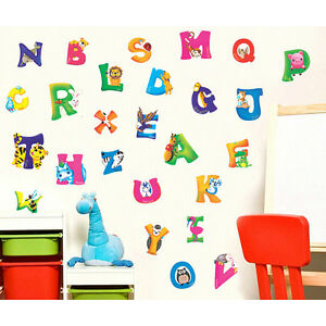 A Z Alphabet with Animals Kids Wall Stickers DIY For Home Nursery Decorations SE