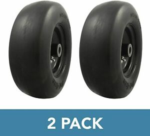 2 Pack Universal Fit Flat Free 11x4 Lawnmower Tire Assembly 3.4quot; Centered Hub