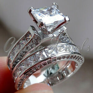 4.23ct Princess cut Diamond Engagement Ring Wedding Band Solid 14k White Gold