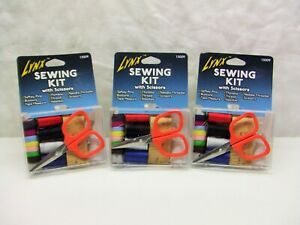 Lot Of 3 Lynx Mini Travel Sewing Kits With Scissors Gifts Car Travel Purse $12.95