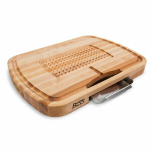 John Boos Block 24quot; Carving Board with Juice Groove and Pan Maple Wood Open Box