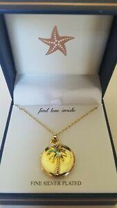 Guiliana Silver Plated Palm Tree Locket Necklace Abalone colored leaves Chain $14.39