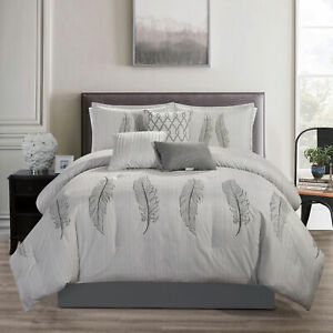 Chezmoi Collection Mateo 7 Piece Chic Feathers Scroll Embroidered Comforter Set