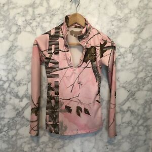 Realtree Pink camouflage Base Layer 1 4 Zip Up Long Sleeves Sz Small