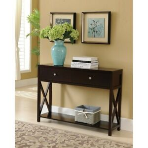 Kings Brand Furniture Console Sofa Entryway Table with Storage Shelf amp; Drawers