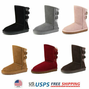 Kids Girls Winter Snow Boots Ankle Fur Lined Warm Outdoor Snow Boots $31.49