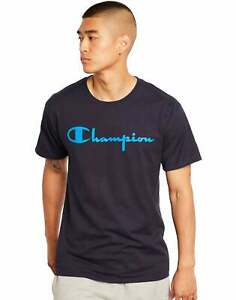 Champion Men#x27;s Classic Jersey Tee Script Logo Athletics T Shirt Ring spun Cotton $13.95