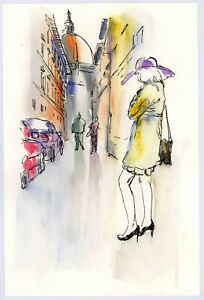 Original Watercolor Painting 9 x 6quot; After Rain Italy Not ACEO $12.00