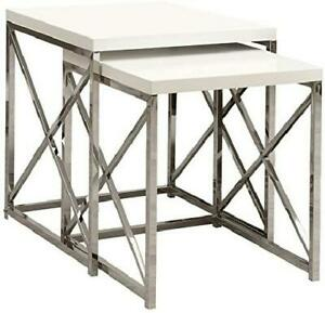 Nesting Table Chrome Metal Glossy White Table Set 2 pc More Colors