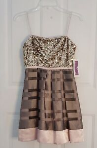 Hailey Logan Adrianna Papell Pink Gold Stripes Gold Sequin Dress Size 3 4 $40.99