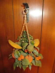 Vintage Fake Fruit Fuzzy with Wall Hanging Brackets 2 pc. Home Decor 1960#x27;s