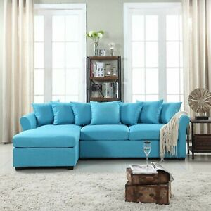 Divano Roma Furniture Modern Linen Sectional Sofa Couch with Extra WideChaise