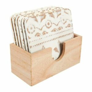 6 Pack Wood Drink Table Coasters Set w Holder Protects from Scratches White