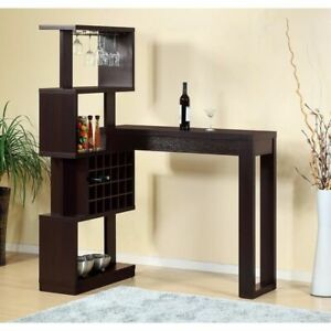 Well Designed Bar Table With Wall Unit With Wine Racks Brown