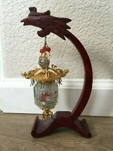 Chinese Wood Dragon Ornament Stand amp; Nice Painted Lamp Art Vintage Antique $125.00