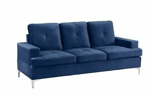 Upholstered Mid Century Couch 77.9quot; inch Velvet Sofa with Tufted Seats Navy