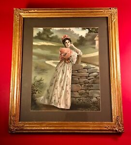 """Antique Framed Victorian 1880s Chromolithograph """"Expectation"""" $125.00"""