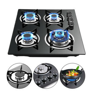 24quot; Tempered Glass Hob Built In 4 Burners Stove Top LPG NG Gas Cooktop Black Top